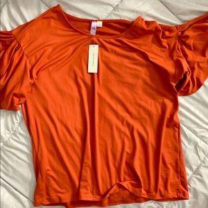 Francesca's deep burnt orange tee top NWT